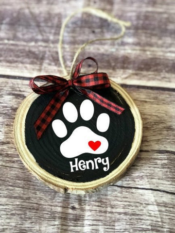 Dog ornament, custom pet ornament, Christmas dog ornament, wood slice ornemant, dog mom, gift from dog, dog paw, dog memorial, buffalo plaid