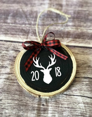 Deer ornament, christmas ornament, gift for hunter, antlers, rustic christmas, wood ornaments, tree decor, wood slice, buffalo plaid, woodsy