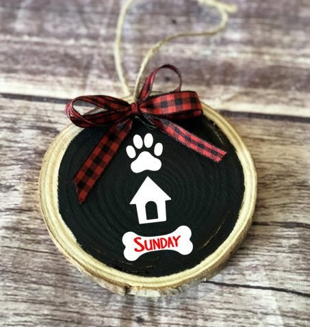 Doggy Christmas Ornament, first christmas, custom pet ornament, Christmas dog ornament, wood slice ornemant, gift from dog, dog memorial