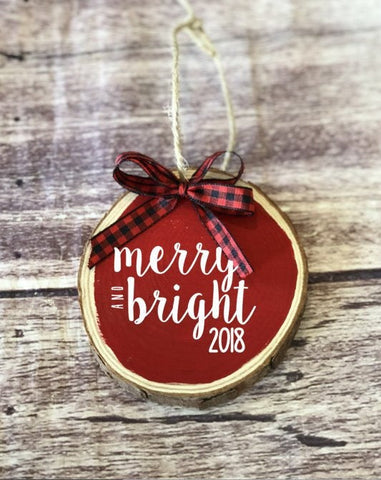 Christmas ornament, merry and bright, wood ornament, rustic christmas, buffalo plaid, secret santa, houswarming gift, boss gift, tree decor