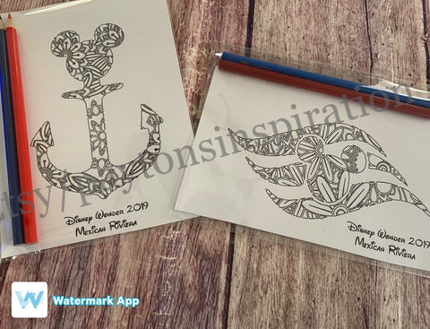 Fish extender gift, FE, disney mandala, disney cruise logo, Mickey mandala, mickey anchor, disney coloring page, 5x7 art print, Disney dream