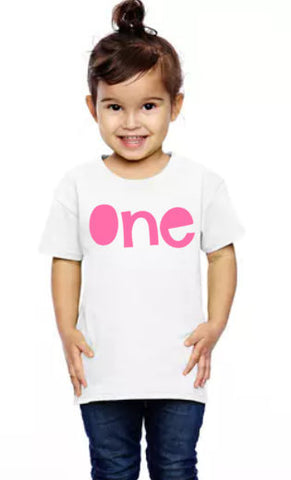 "Girls ""ONE"" first birthday shirt"