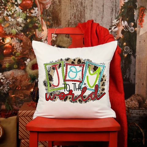 Christmas pillow, decorative pillow, joy to the world, holiday decor,  holiday pillow, couch pillow, 16x16 pillow, pillowcase, pillow cover