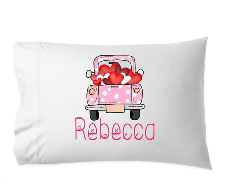 valentine pillowcase, valentine gift for girl, heart pillowcase, personalized pillowcase, heart truck, gift for her, girl pillow, pillowcase