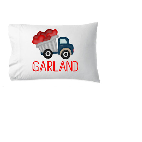 valentine pillowcase, valentine gift for boy, dump truck pillowcase, personalized pillowcase, heart truck, pillowcase, name pillow
