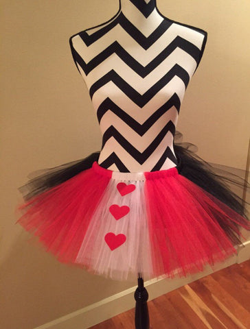 Queen of hearts tutu, halloween costume, adult running tutu, red and black tutu, alice in wonderland tutu