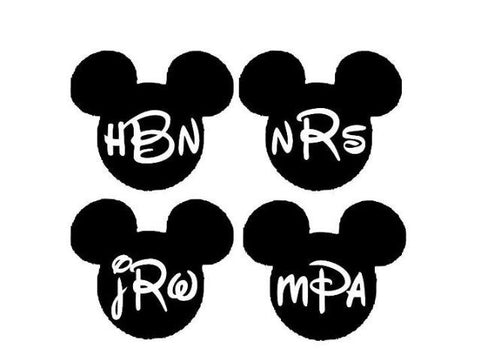 Mickey mouse monogram, monogram decal, mickey sticker, yeti decal