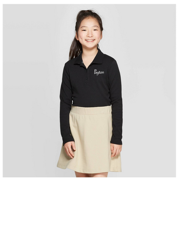 Seeds Academy Uniform- Girls Long sleeve Polo (black)