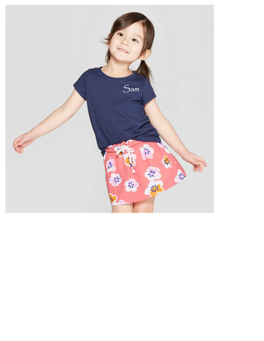 Seeds Preschool Uniform-Girls Short sleeve tshirt (navy)