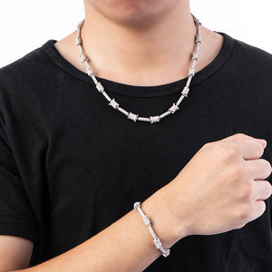 Iced Out Barbed Wire Necklace