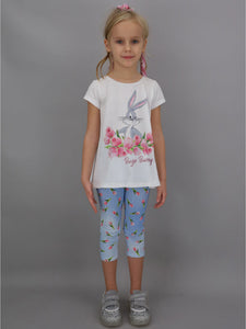 T-shirt MONNALISA bianca stampa Bugs Bunny - Junior & Co.it