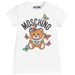 T-shirt MOSCHINO bianca stampa Orsacchiotto e Farfalle - Junior & Co.it