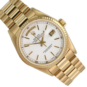 Rolex Watch Mens Day Date 18038 Presidential 18k Yellow Gold White Stick Dial