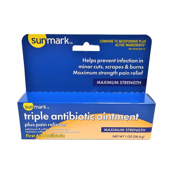 Triple Antibiotic Ointment Plus Pain Reliever, Maximum Strength, 1 Oz, 1 Each, By Sunmark