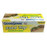 "GoodSense Fold Top Sandwich Bags, 80 Ct., 6.5""x 5.5"", Case of 24 Boxes, By Perrigo"