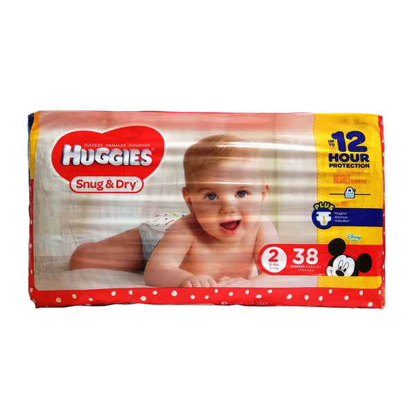 Huggies Snug & Dry Diapers, Size 2, 38 Count, 1 Pack Each, By Kimberly Clark