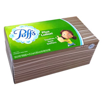 Puffs Plus Lotion Soothes Sore Sniffers 124 2-Ply Tissues, Case Of 24 Tissue Boxes, By P&G