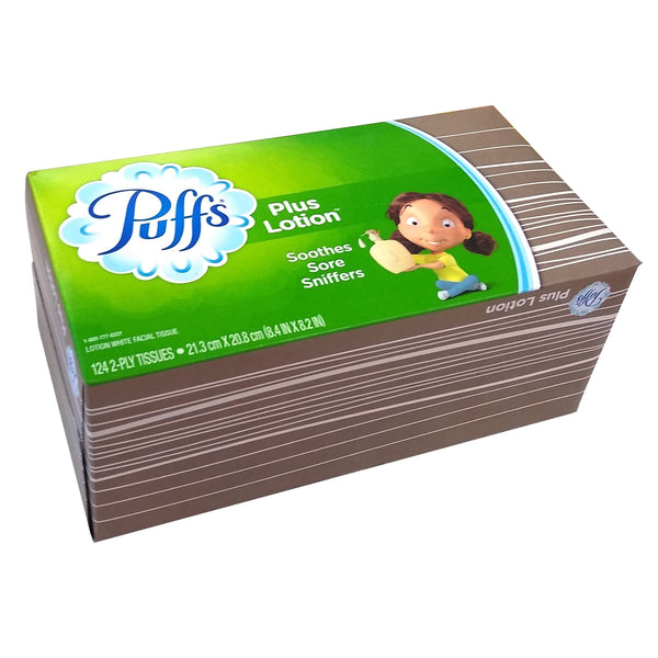 Puffs Plus Lotion Soothes Sore Sniffers 124 Count 2-Ply Tissues, 1 Box Each, By P&G