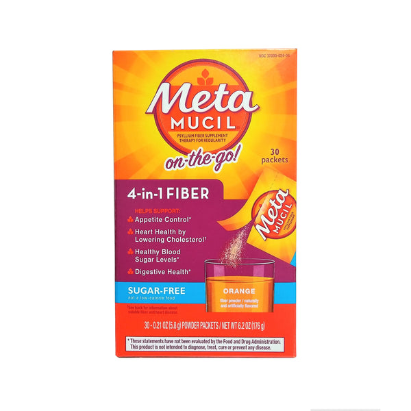 Metamucil Psyllium Fiber Sugar-Free Supplement, Single-Serve Packets, Orange Flavored, 30 Count, 1 Pack Each, By P&G