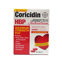 Coricidin HBP Maximum Strength Flu Relief Tablets, 20 Tablets, 1 Box Each, By Bayer