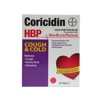 Coricidin HBP Cough & Cold Tablets, 16 Tablets, 1 Box Each, By Bayer