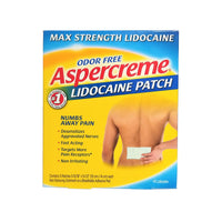 "Aspercreme Max Strength Pain Relieving Lidocaine Patch, 3.94"" x 5.5"", 5 Ct., 1 Box Each, By Chattem"