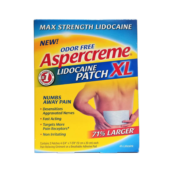 Aspercreme® Lidocaine Patch XL, Odor Free, 3 Ct., 1 Box Each, By Chattem, Inc.