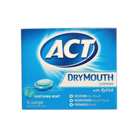 ACT Dry Mouth Lozenges, Sugar-Free Soothing Mint, 18 Count, 1 Pack Each, By Chattem