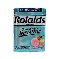 Rolaids Extra Strength Antacid Chewable Tablets, 3 Rolls Per Pack, 30 Count Total, 1 Pack Each, By Chattem Inc.