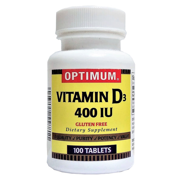 Optimum Vitamin D-400IU Dietary Supplement, 100 Tablets, 1 Bottle Each, By Magno-Humphries