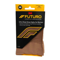 Futuro Ultra Sheer Knee Highs for Women, Mild Compression, Size Med, 1 Pair Each, By 3M Personal Care