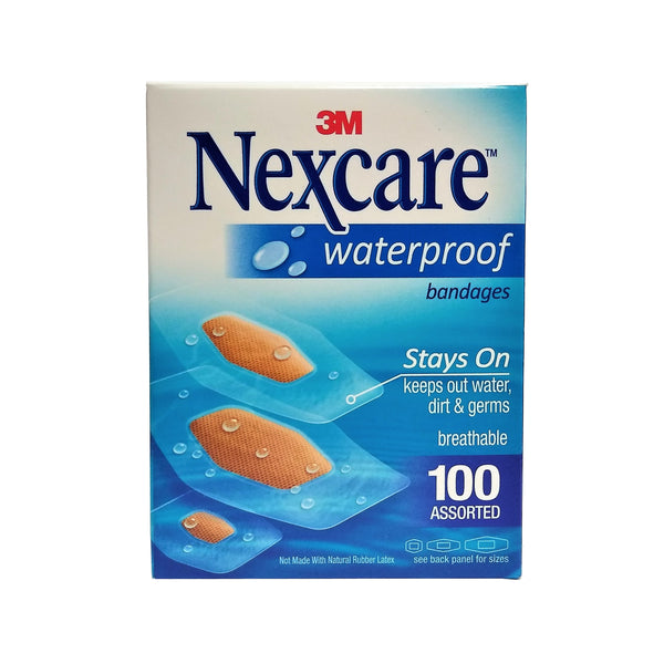 Nexcare Waterproof Bandages, Assorted Sizes, 100 Count, 1 Each,  By 3M