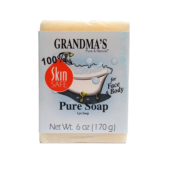 Grandma's Pure & Natural Lye Soap Bar for Dry Skin, 6 Oz. Bar, 1 Each, By Grandma's Pure & Natural