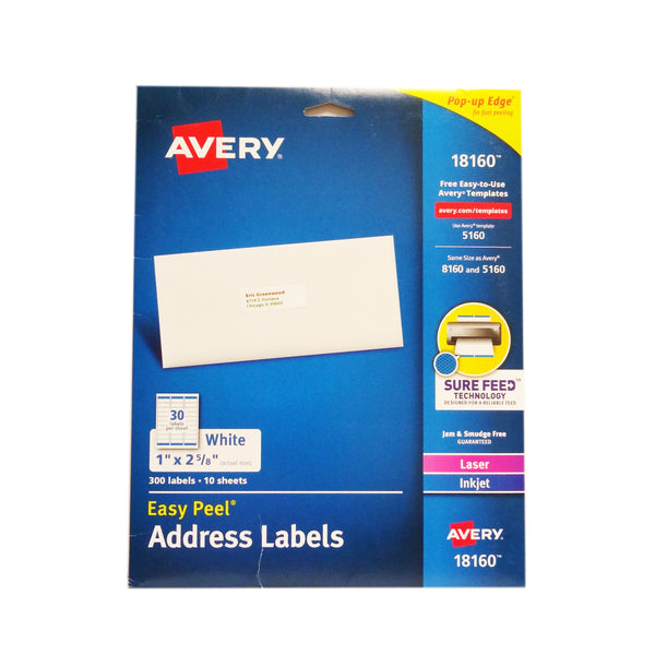 Avery 18160 Easy Peel Address Labels, 300 Labels/10 Sheets, 1 Pack Each, By Avery