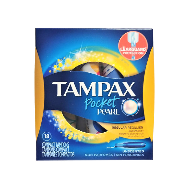 Tampax Pocket Pearl Tampons, Regular Unscented, 18 Count, 1 Pack Each, By P&G