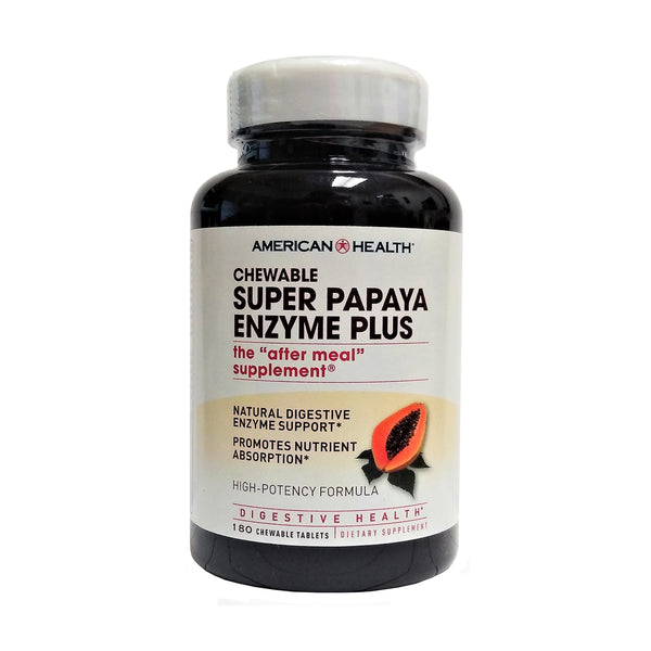 Super Papaya Enzyme Plus  180 Chewable Tablets, 1 Bottle Each, By America Health