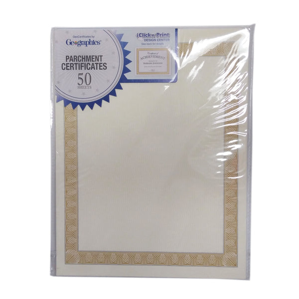 GeoCertificates Parchment Paper Certificates, 50 Sheets, 1 Pack Each, By Geographics