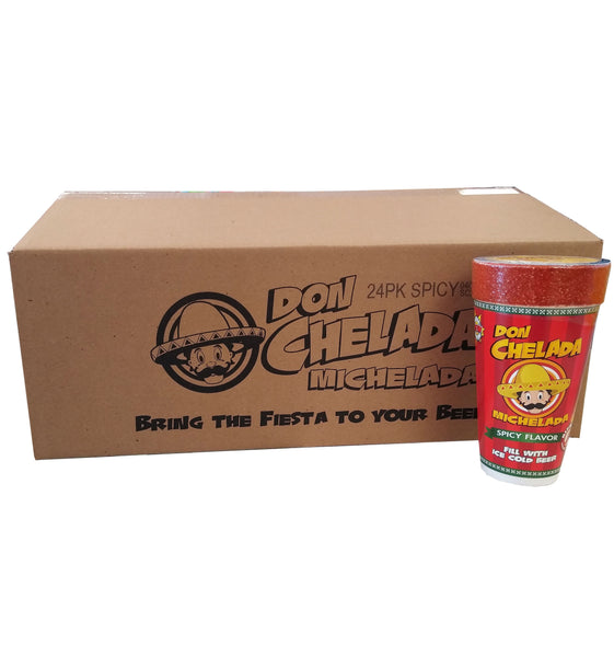 Michelada Beer Cups, Spicy Flavor, 1 Case of 24 Cups, By Don Chelada