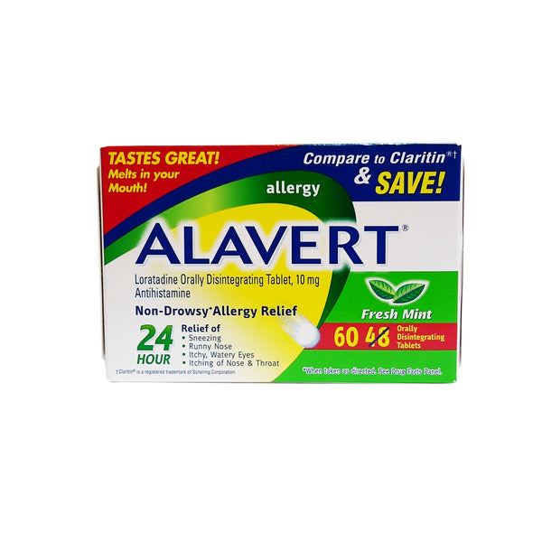 Alavert Non-Drowsy 24 Hour Allergy Relief, Fresh Mint 10 mg 60 Tablets, 1 Pack Each, By Pfizer Consumer Healthcare