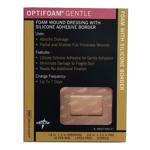 "Optifoam Gentle Foam Dressings with Silicone Adhesive Border, 1.6"" x 2"", 10 Per Box, MSC20162EPH, By Medline"
