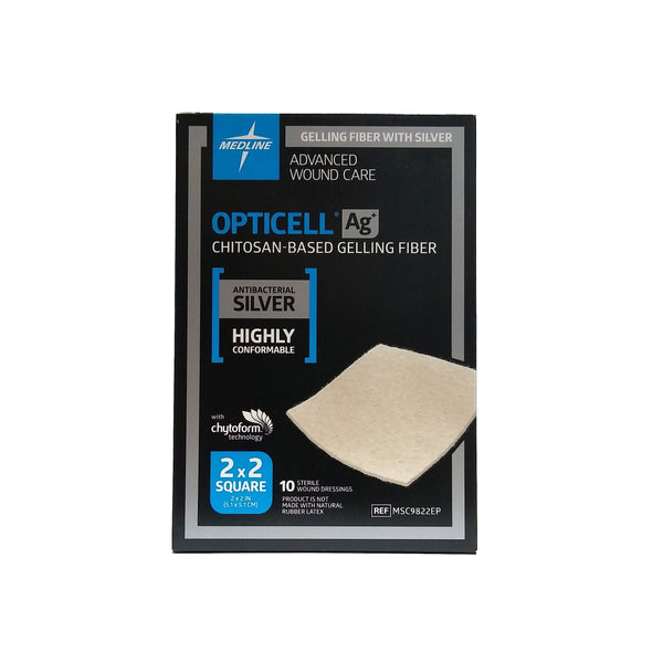 "Opticell Chitosan-Based Gelling Fiber Wound Care Silver 2"" x  2"", 1 Box of 10, MSC9822EPZ, By Medline"