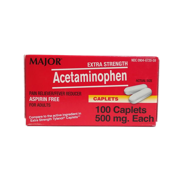 Extra Strength Acetaminophen, 500 mg, 100 Caplets, 1 Box Each, By Major Pharmaceuticals
