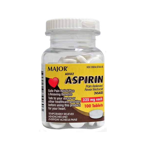 Major Adult Aspirin-Pain Reliever/Fever Reducer 325 mg, 100 Tablets, 1 Each, By Major