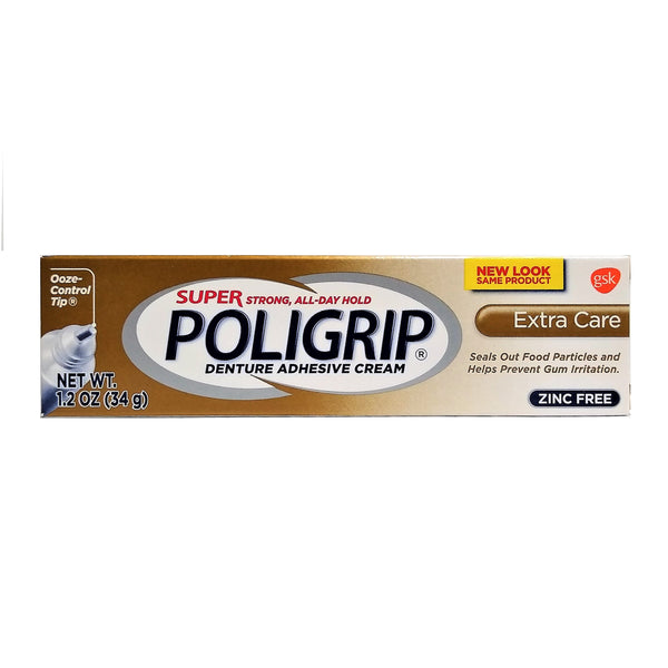 Super Poligrip Extra Care Denture Care Adhesive Cream, 1.2 Oz, 1 Each, By GSK Consumer Healthcare