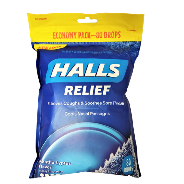 Halls Relief Cough Suppressant/Oral Anesthetic, Mentho-Lyptus, 80 Ct., 1 Pack Each, By Mondelez International, Inc.