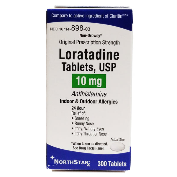 Loratadine USP Indoor & Outdoor Allergies 10 mg 300 Tablets, 1 Pack Each, By NorthstarRx LLC Pharmaceuticals