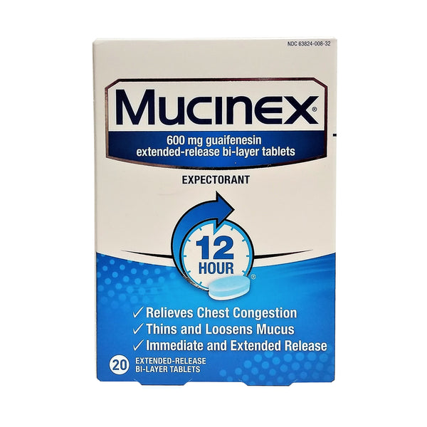 Mucinex Extended-Release Bi-Layer, 20 Tablets, 1 Each,  By Reckitt Benckiser