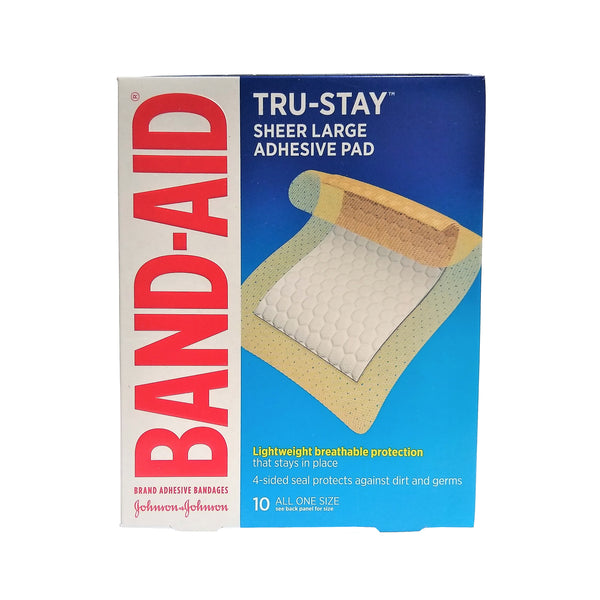 "Band-Aid Tru-Stay Sheer Large Adhesive Pads, 10 Large 2-7/8"" x 4"" Bandages, 1 Box Each, By Johnson & Johnson"