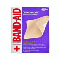 Band-Aid Cushion Care Adhesive, 4 Large Gauze Pads, 1 Box Each, By Johnson And Johnson