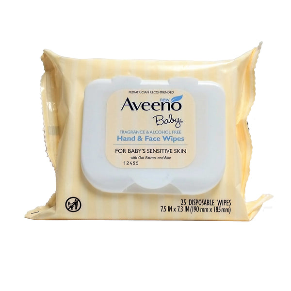 Aveeno Baby Hand and Face Wipes, 25 Ct., 1 Pack Each, By Johnson & Johnson
